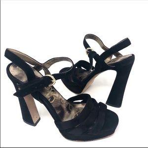 Sam Edelman Taryn Black Suede Platform Sandals 6.5